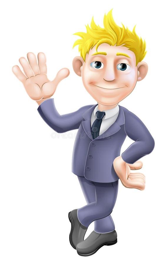 Homem em desenhos animados de ondulação do terno ilustração royalty free