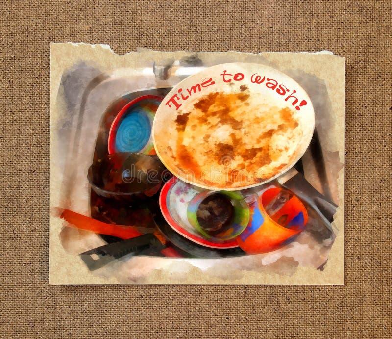 Uma massa de pratos sujos, sujos com alimento desfaz-se da espera a ser wa ilustração do vetor