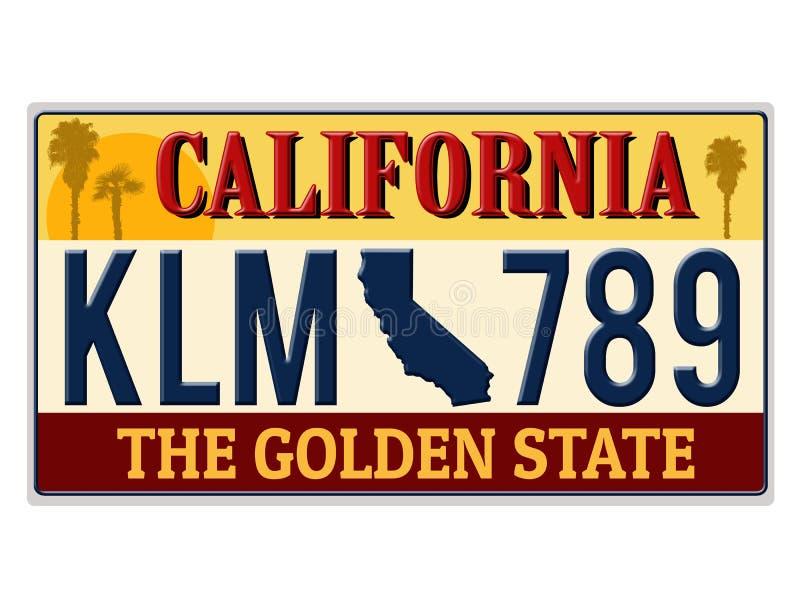 Uma matrícula de imitação de Califórnia ilustração stock