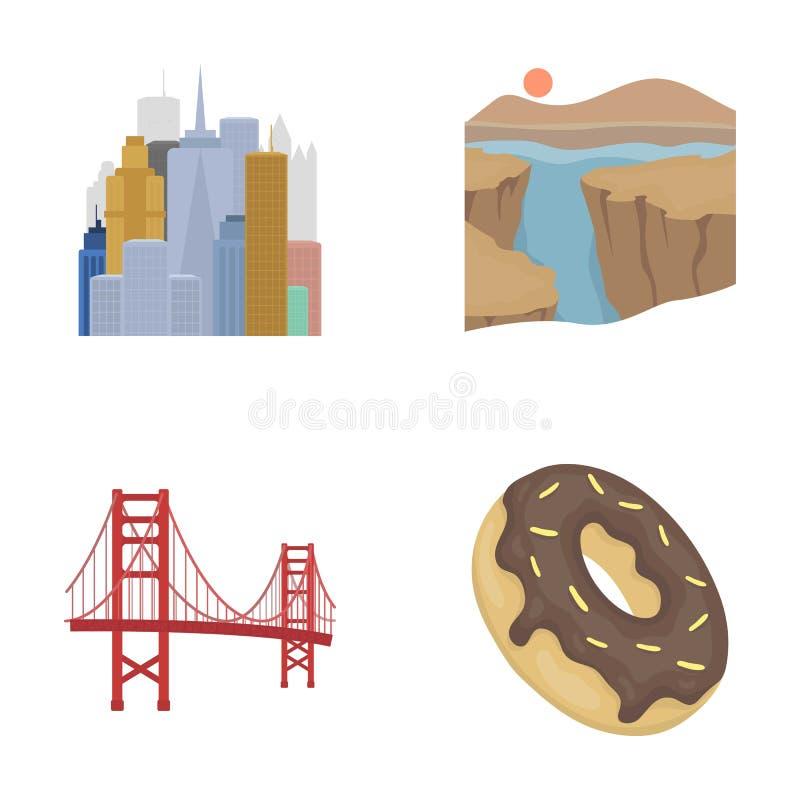Uma megalópole, um Grand Canyon, golden gate bridge, filhós com chocolate Os ícones ajustados da coleção do país dos E.U. nos des ilustração do vetor
