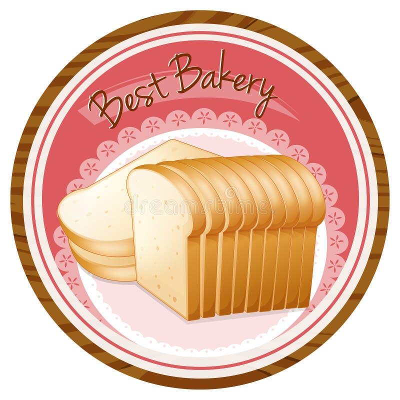 Uma melhor etiqueta da padaria com um naco de pão ilustração stock