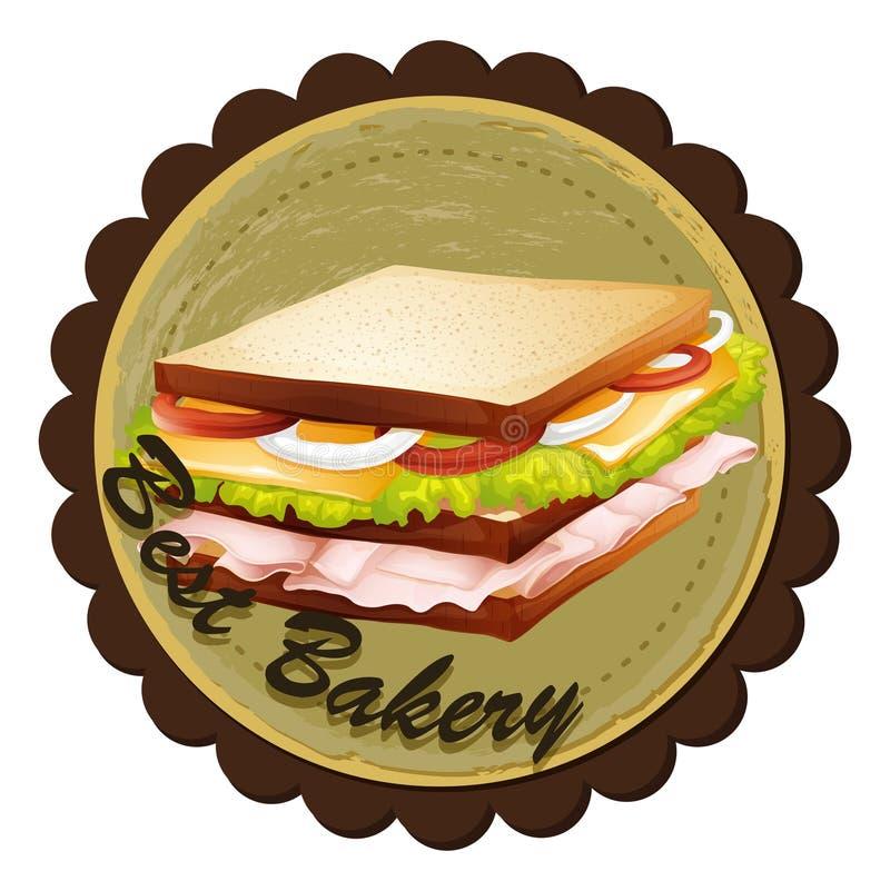 Uma melhor etiqueta da padaria com um sanduíche ilustração royalty free