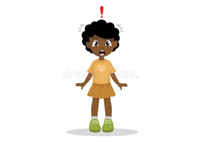 Uma menina africana pequena chocada fotografia de stock