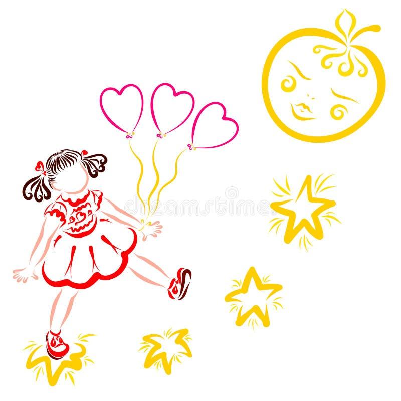 Uma menina anda nas estrelas à lua como uma maçã, coração deu forma a balões ilustração royalty free