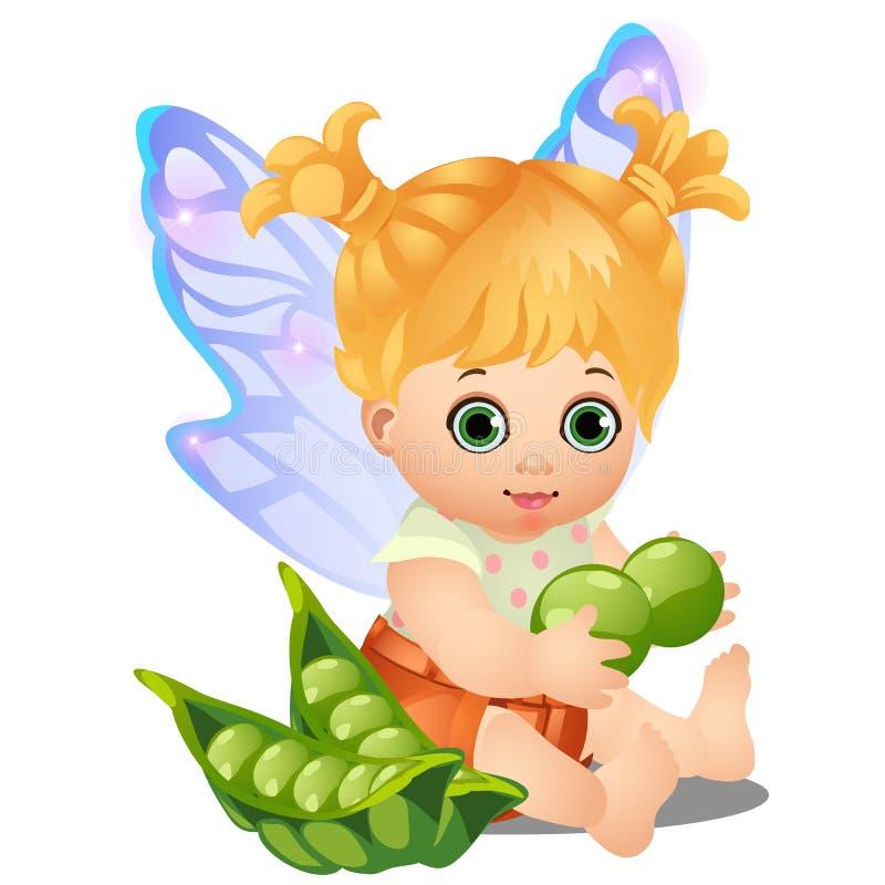 Uma menina animado feliz pequena com as asas feericamente guardando as ervilhas verdes isoladas no fundo branco Close-up dos dese ilustração stock