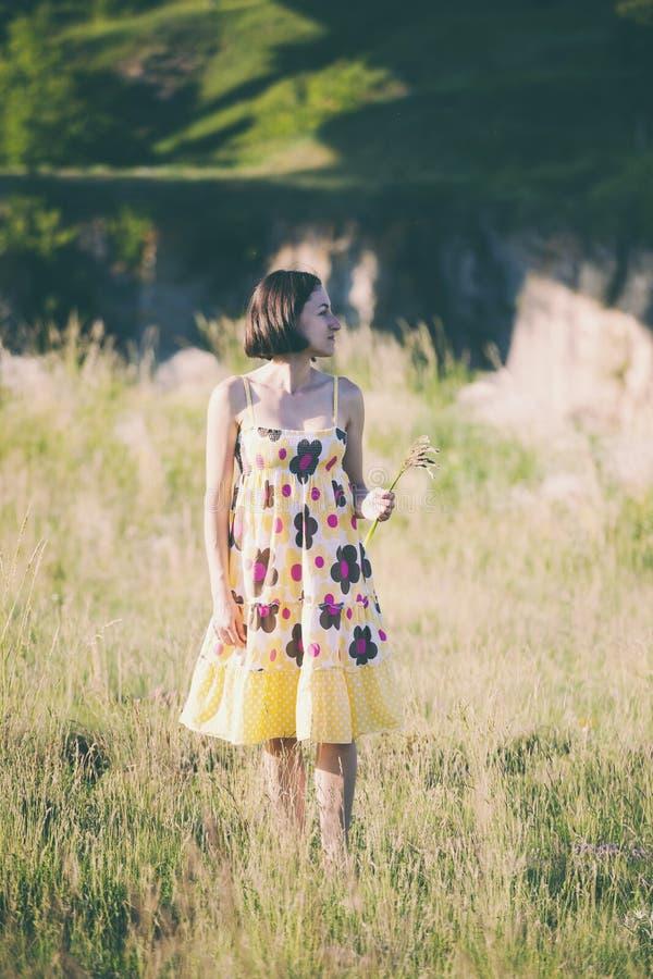 Uma menina arranca as flores selvagens fotos de stock royalty free