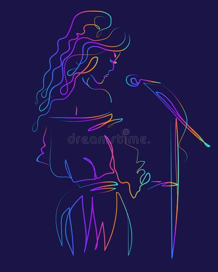Uma menina atrativa canta em um microfone Mulher do cantor em um fundo escuro Canto no estágio ilustração do vetor