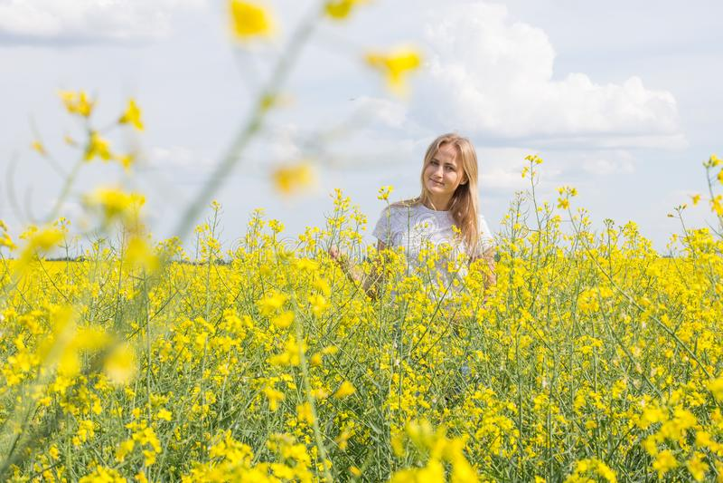 Uma menina atrativa está estando em um campo e em um sorriso da colza foto de stock