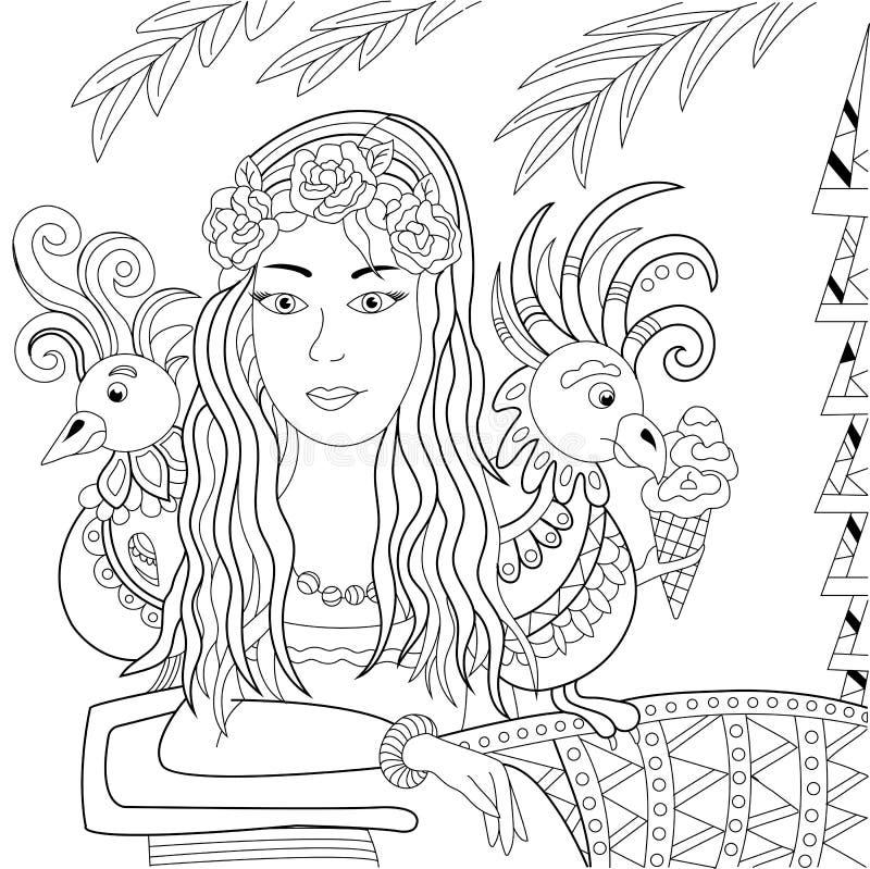 Uma menina bonita com os dois papagaios perto da palma Vetor ilustração stock