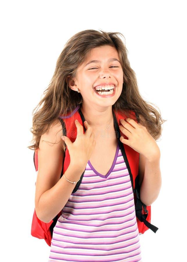 Uma menina bonita com trouxa imagens de stock
