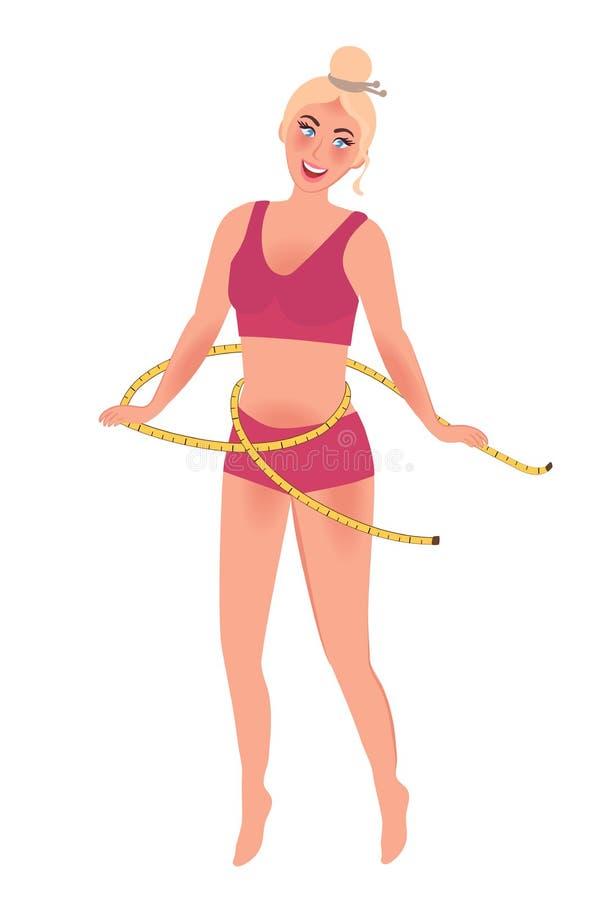 Uma menina bonita delgada com sorrisos finos e danças de uma cintura estilo de vida e esportes saudáveis Gráficos de vetor ilustração stock
