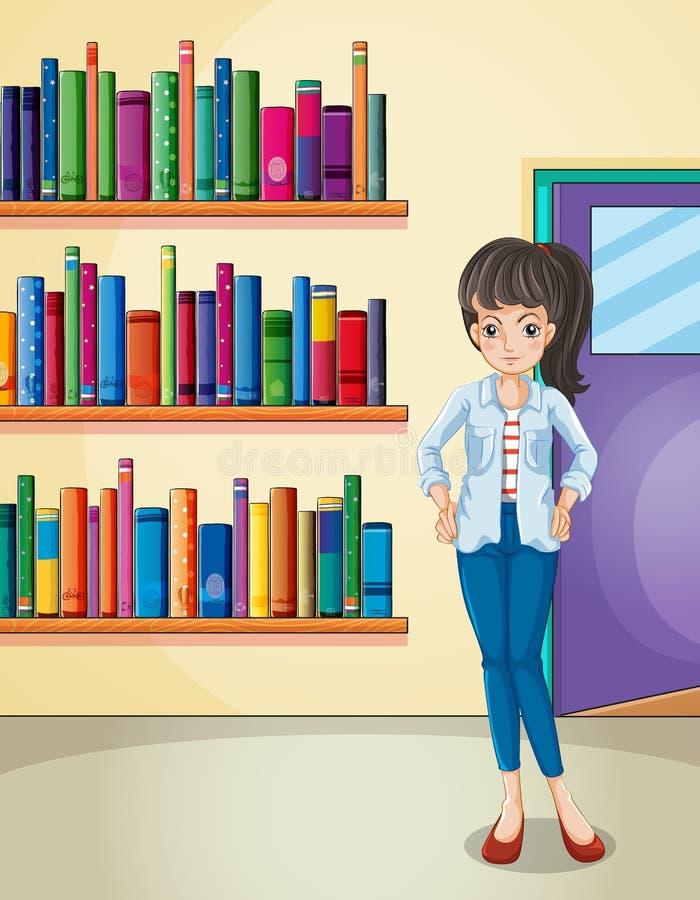 Uma menina bonita na biblioteca ilustração stock