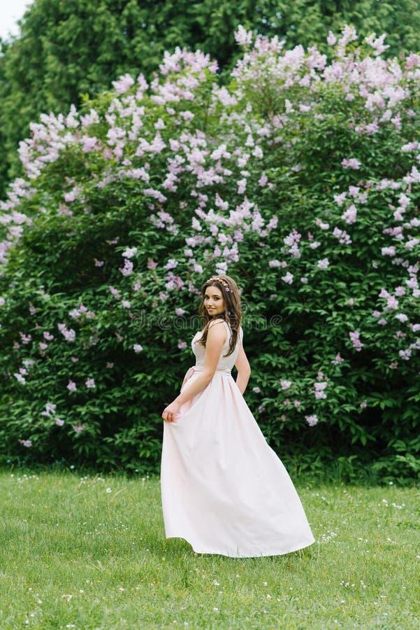 Uma menina bonita nova bonita com cabelo longo está frouxamente perto de Bush lilás de florescência em um pálido longo - vestido  imagens de stock