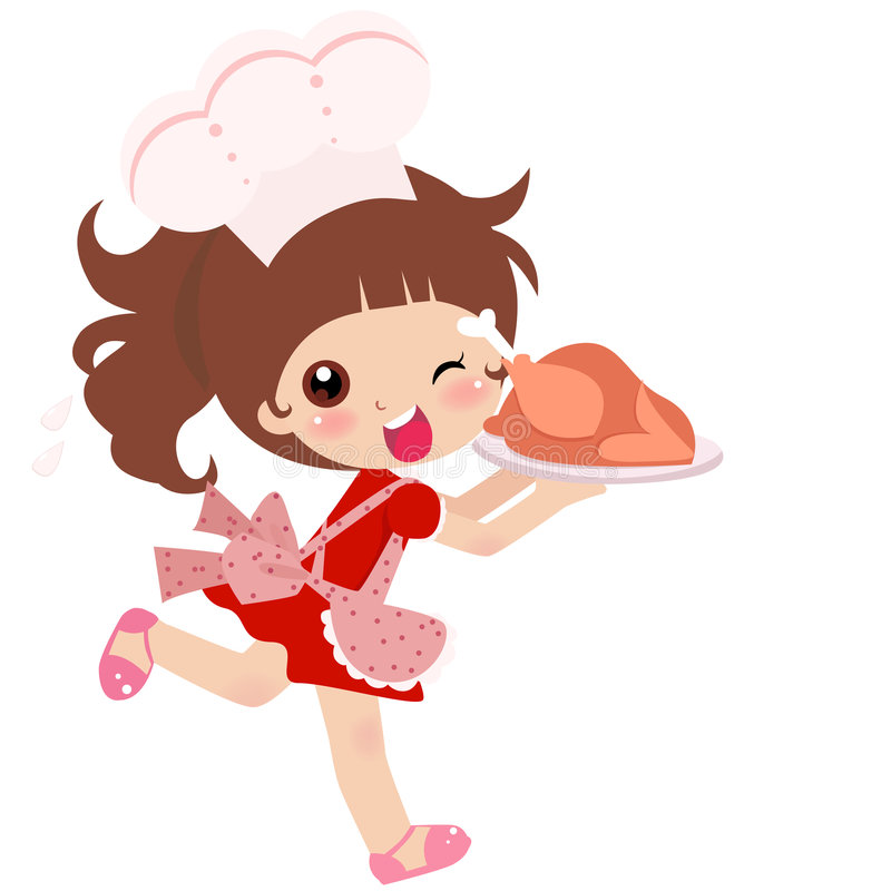 Uma menina bonito da cozinha