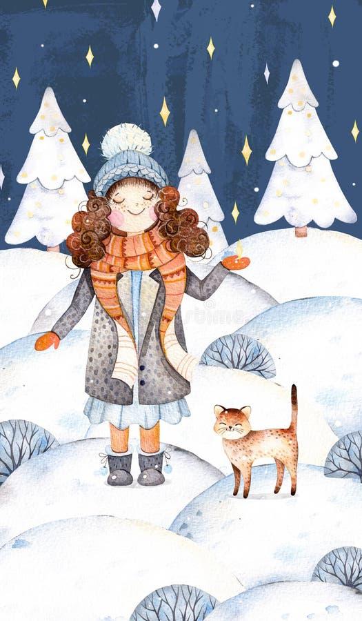 Uma menina bonito em uma lã reveste, lenço, chapéu e seu gatinho amigo-bonito pequeno ilustração royalty free