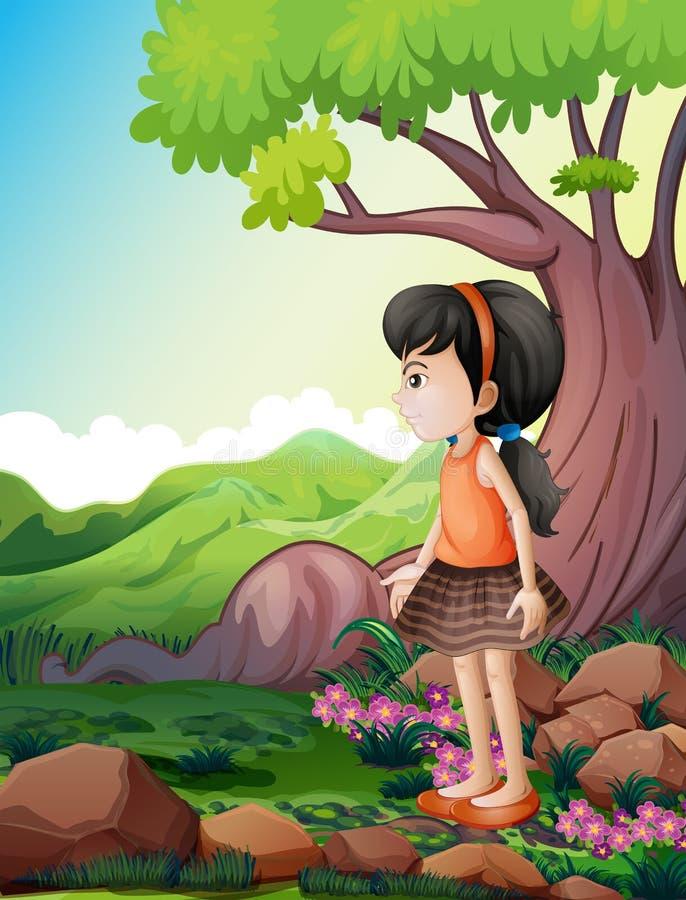 Uma menina bonito perto da árvore gigante ilustração stock
