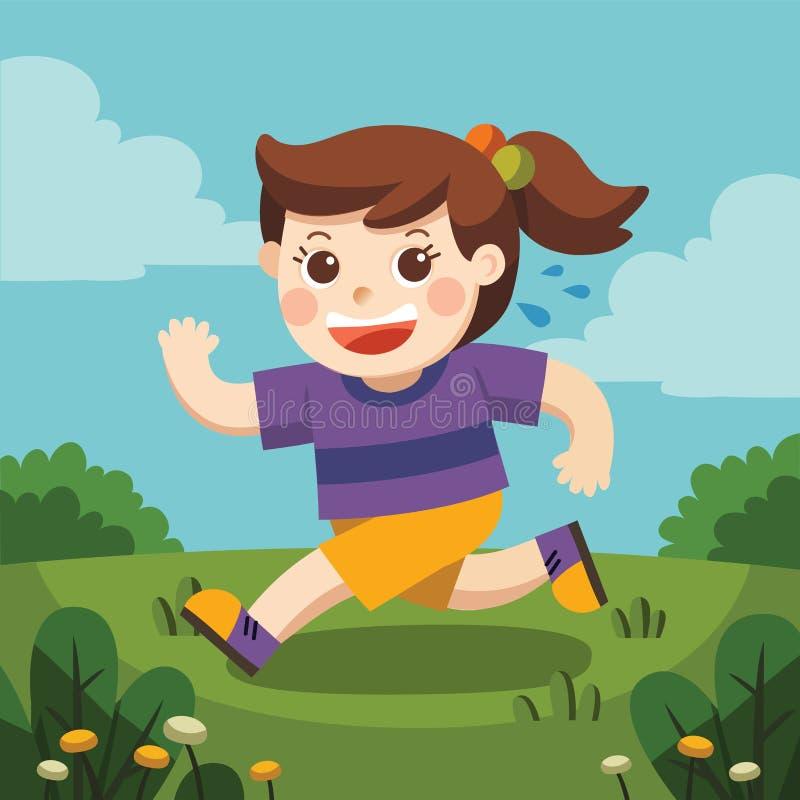 Uma menina bonito que corre em torno do campo de jogos ilustração stock