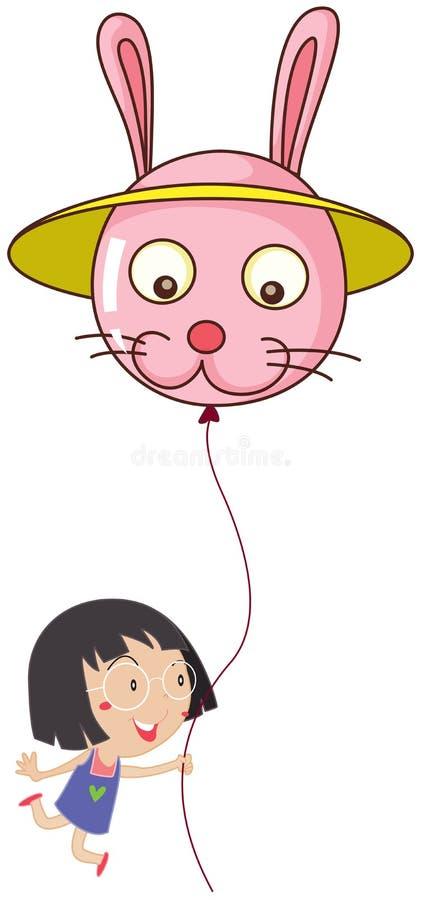 Uma menina bonito que guarda um balão do coelho ilustração royalty free