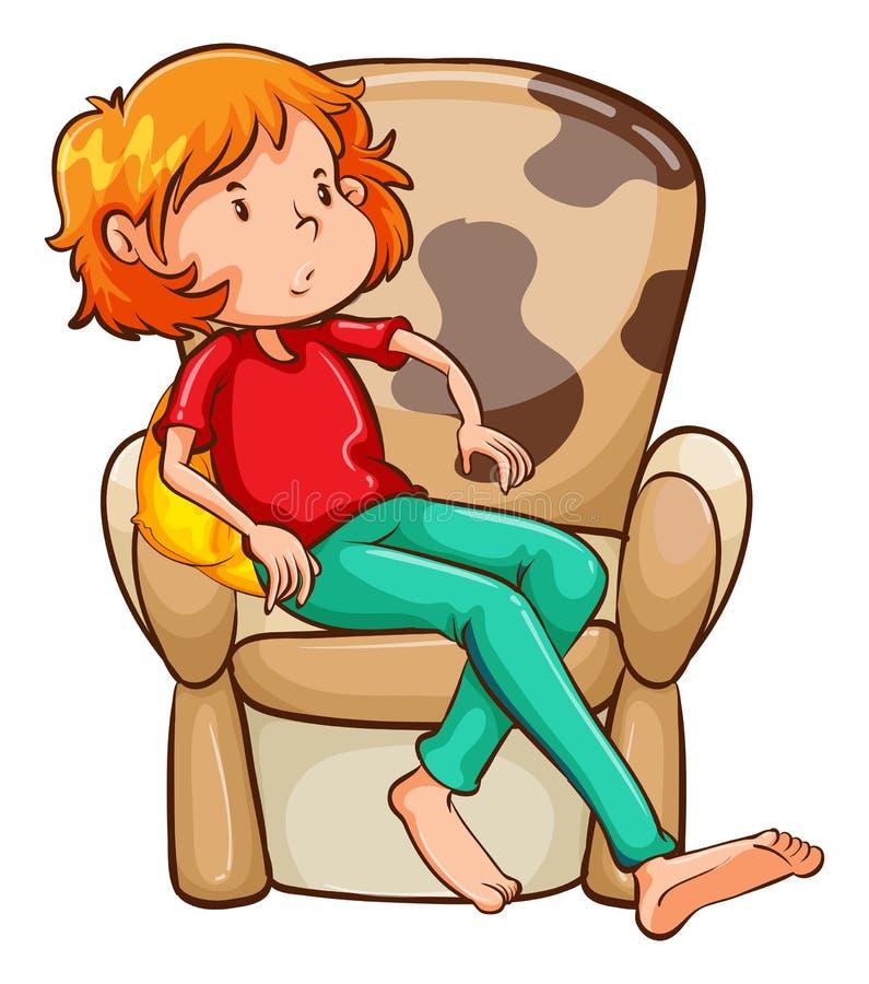 Uma menina cansado na cadeira ilustração do vetor