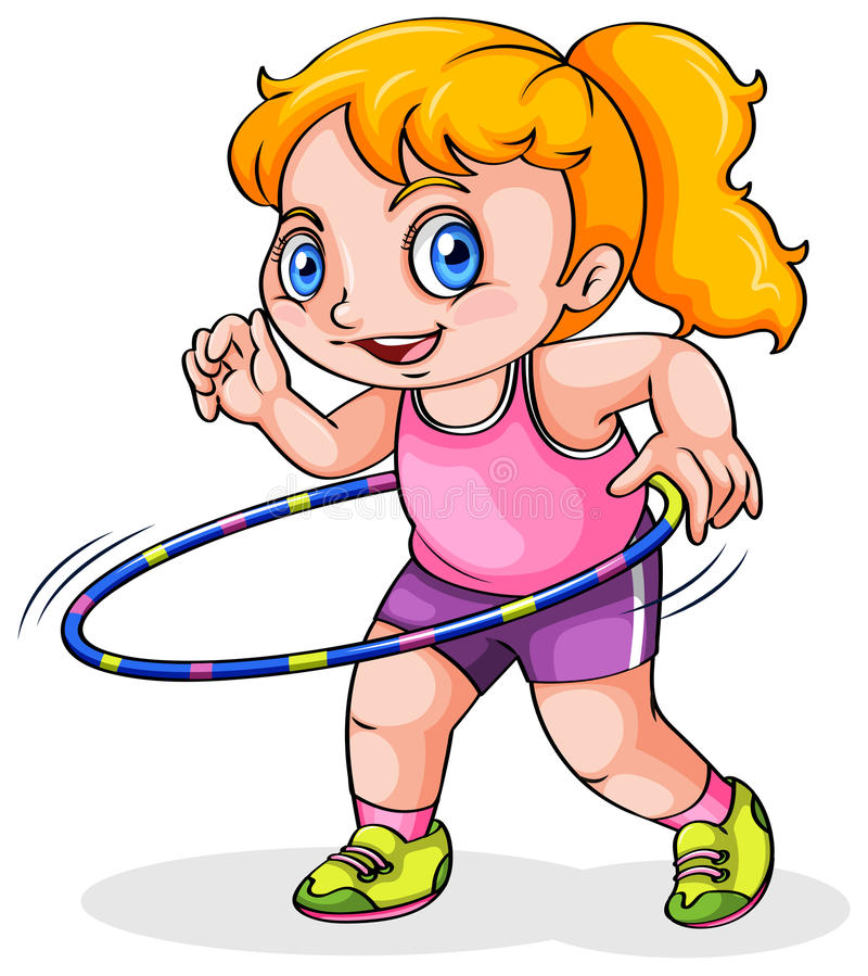 Uma menina caucasiano nova que joga com um hulahoop ilustração stock