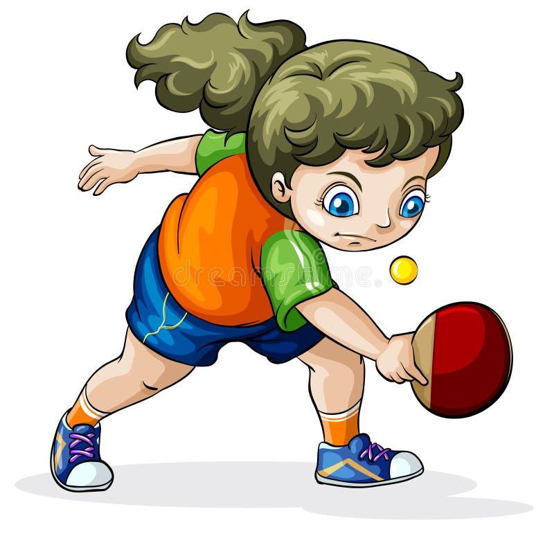 Uma menina caucasiano que joga o tênis de mesa ilustração stock