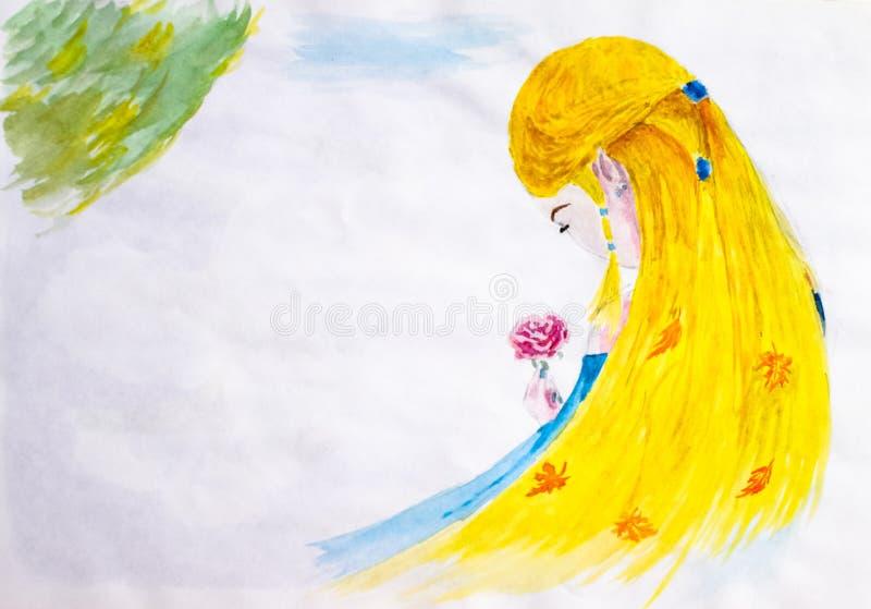 Uma menina com cabelo louro longo admira uma flor cor-de-rosa outono no cabelo, folhas da queda da folha Aquarela do desenho ilustração stock