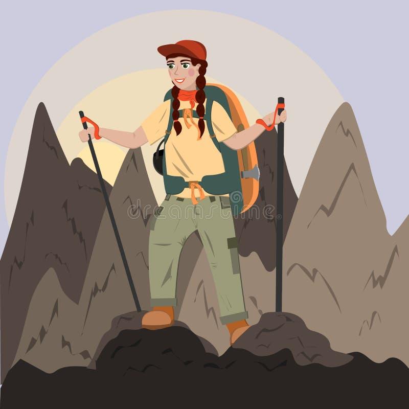Uma menina com escaladas de uma trouxa à parte superior das montanhas, caminhando nas montanhas, trekking Ilustração no estilo li ilustração do vetor