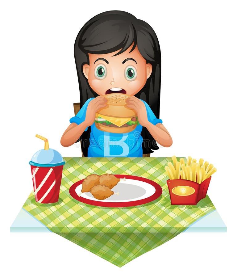Uma menina com fome que come em um restaurante de fastfood ilustração do vetor