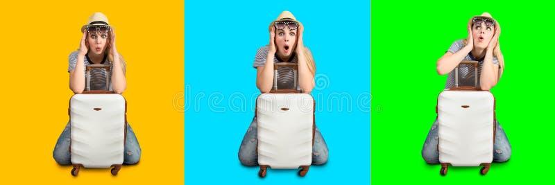 Uma menina com uma mala de viagem vai em uma viagem collage emoção imagens de stock