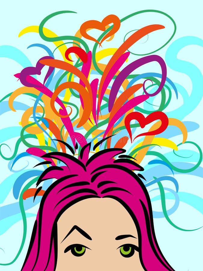 Uma menina com pensamentos sobre algo, ideias coloridas caóticas ilustração royalty free