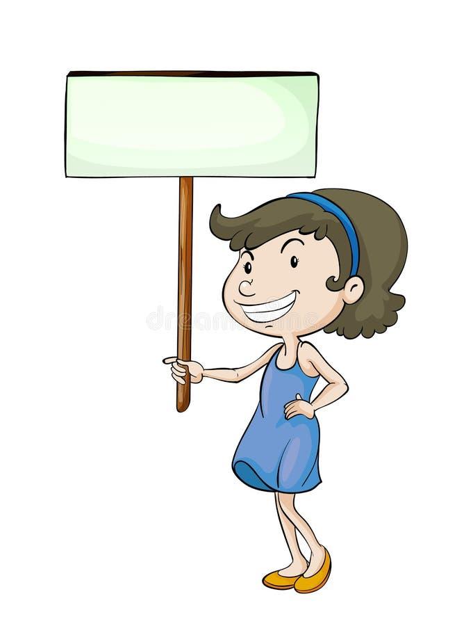 Uma menina com placa do sinal ilustração stock