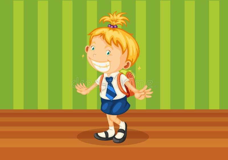 Uma menina com schoolbag ilustração royalty free