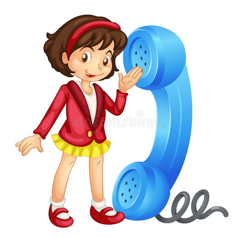 Uma menina com telefone ilustração do vetor