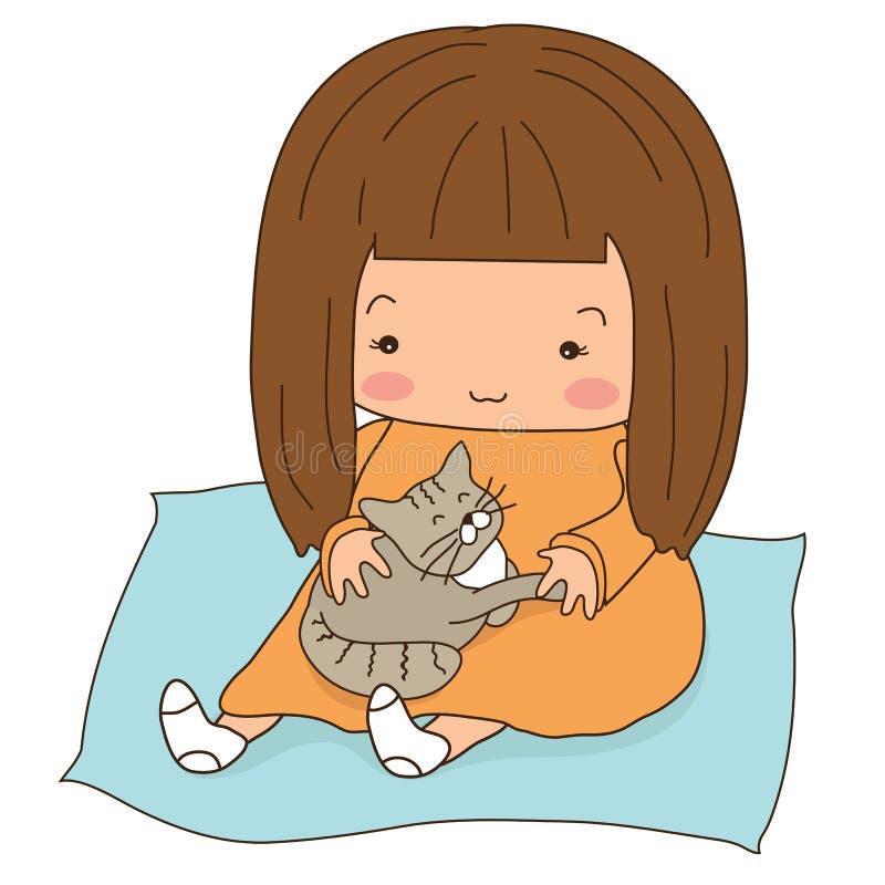 Uma menina com um gato em seu regaço Os desenhos animados ilustração stock