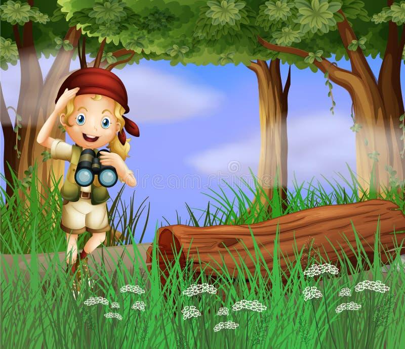 Uma menina com um telescópio dentro da floresta ilustração stock
