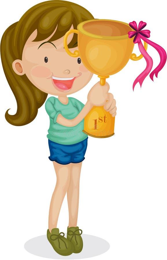 Uma menina com um troféu ilustração royalty free