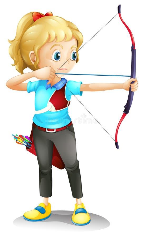 Uma menina com uma curva e uma seta ilustração royalty free