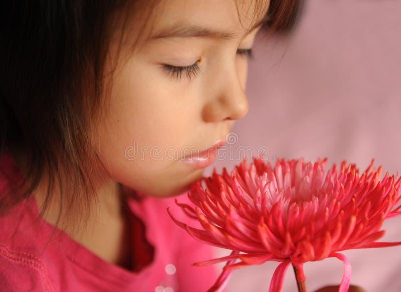 Uma menina com uma flor foto de stock