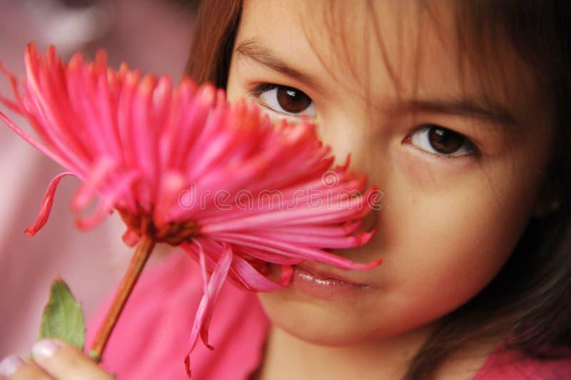 Uma menina com uma flor imagens de stock