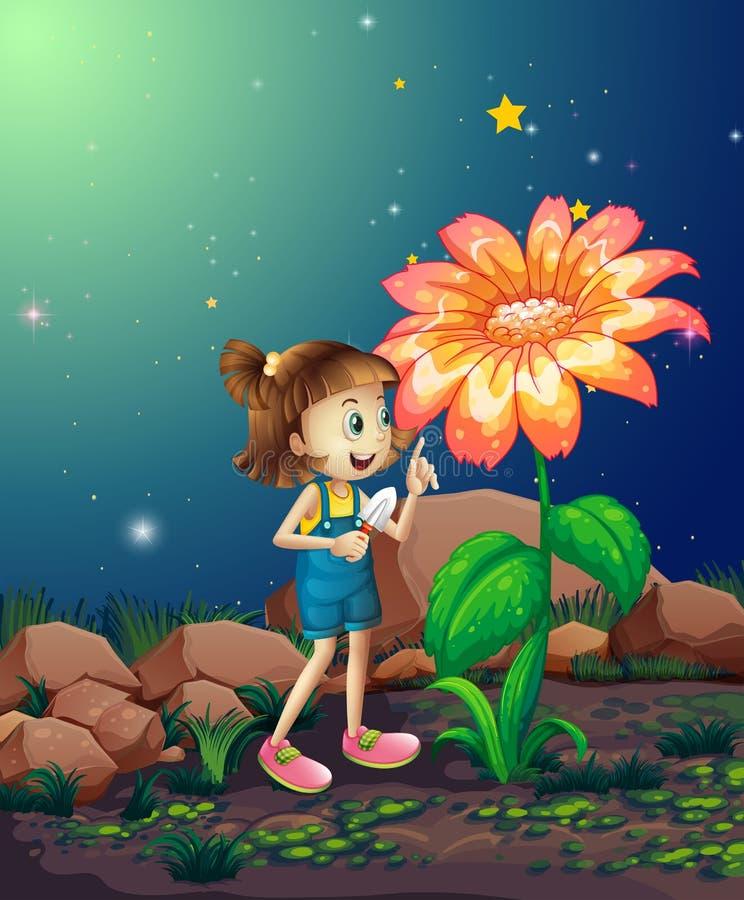 Uma menina com uma pá que olha a planta gigante ilustração royalty free