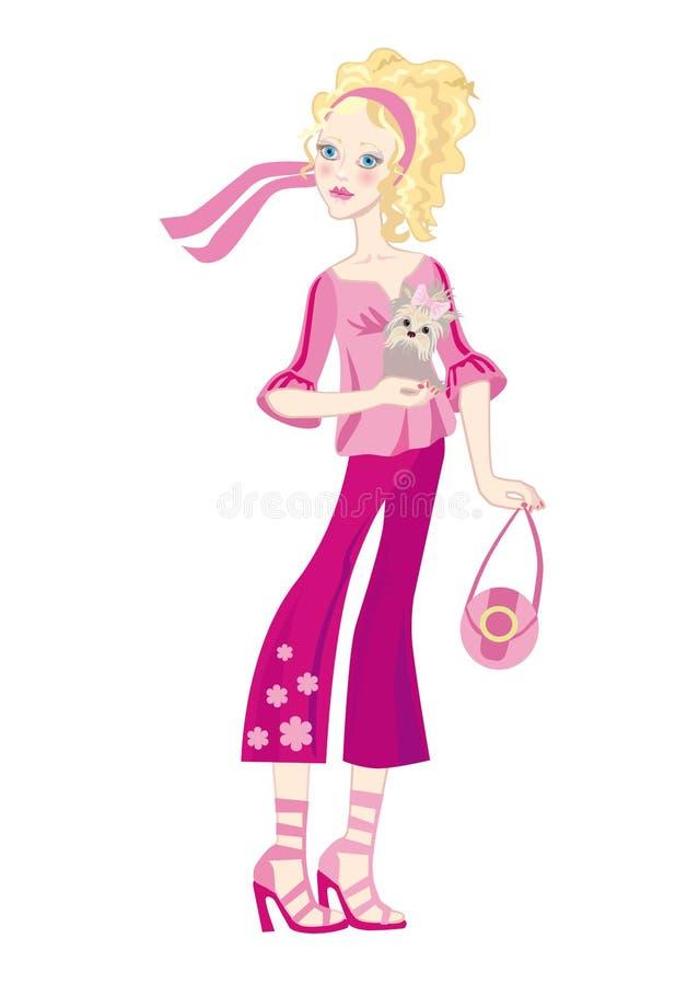 Uma menina da forma com um doggy pequeno ilustração stock