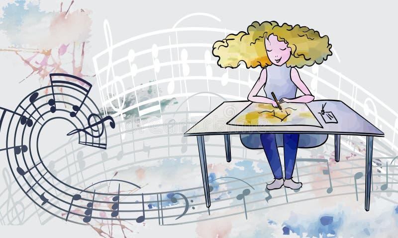 Uma menina de cabelos vermelhos das linhas e pontos de aquarela senta-se em uma mesa e desenha e ouve música fotografia de stock