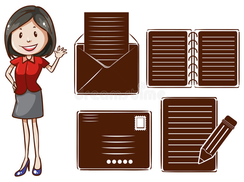 Uma menina de escritório ilustração royalty free