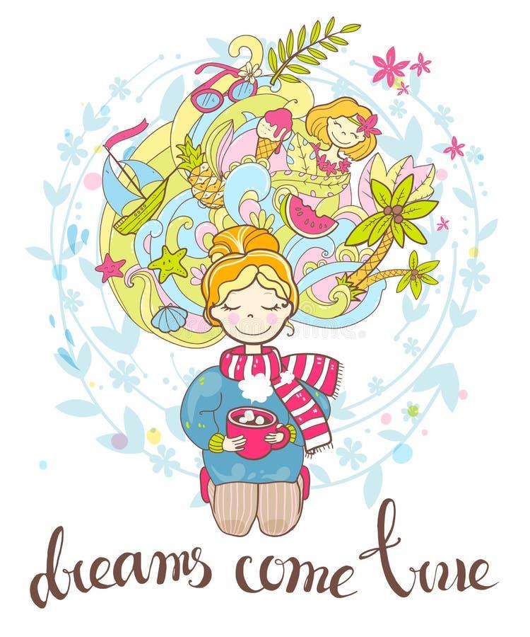 Uma menina de sonho rosado doce senta-se em seus joelhos com um copo da bebida ilustração royalty free