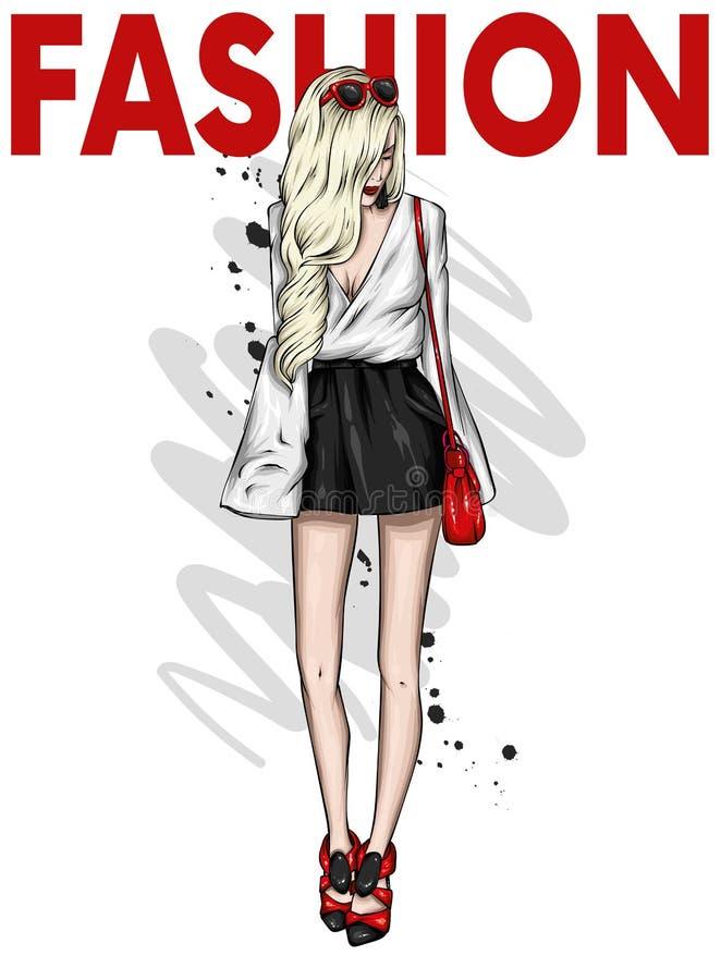 Uma menina delgada alta no short curto, e t-shirt Modelo bonito na roupa ? moda Ilustra??o do vetor ilustração stock