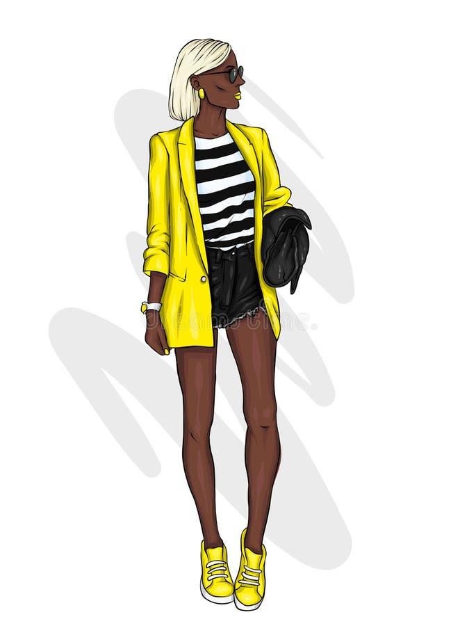 Uma menina delgada alta no short curto, em um revestimento e em sapatas alto-colocadas saltos Modelo bonito na roupa à moda Ilust ilustração stock