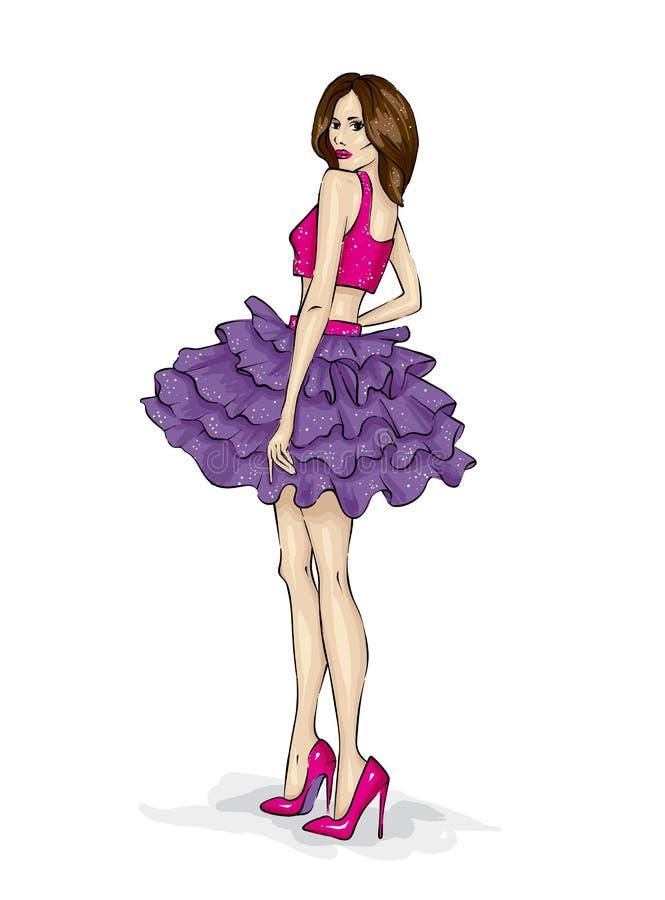 Uma menina delgada bonita com pés longos na roupa elegante Um modelo em uma saia, em uma parte superior e em umas sapatas alto-co ilustração royalty free