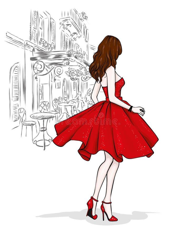 Uma menina delgada bonita com pés longos na roupa elegante Um modelo em uma saia, em uma parte superior e em umas sapatas alto-co ilustração stock