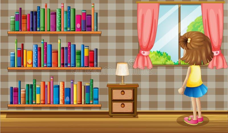 Uma menina dentro da casa com uma coleção dos livros ilustração do vetor