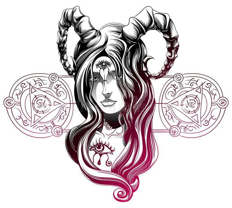 Uma menina do demônio ilustração royalty free